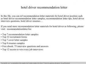 sample of recommendation letter hotel driver recommendation letter