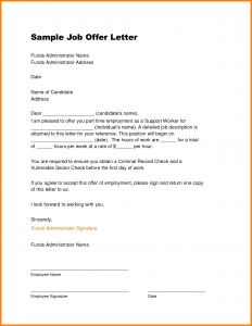 sample offer letter job offer letter sample