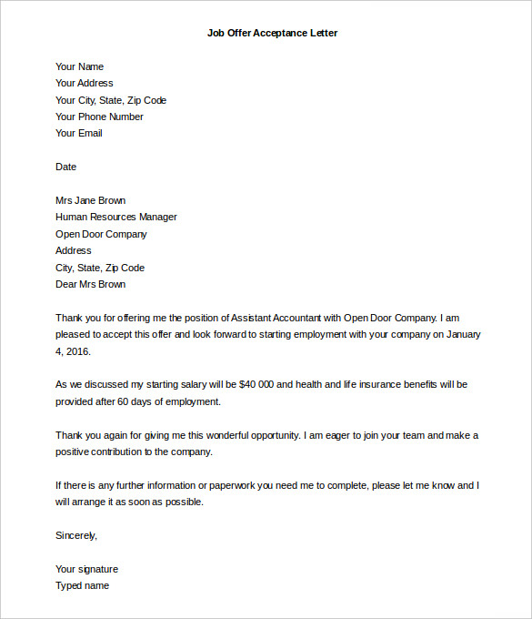 Sample Of Job Offer Letter  BesikEightyCo