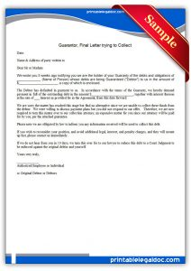 sample operating agreement printable guarantor, final letter trying to collect form