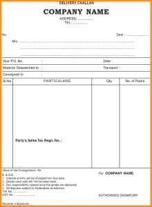 sample order form delivery challan sample