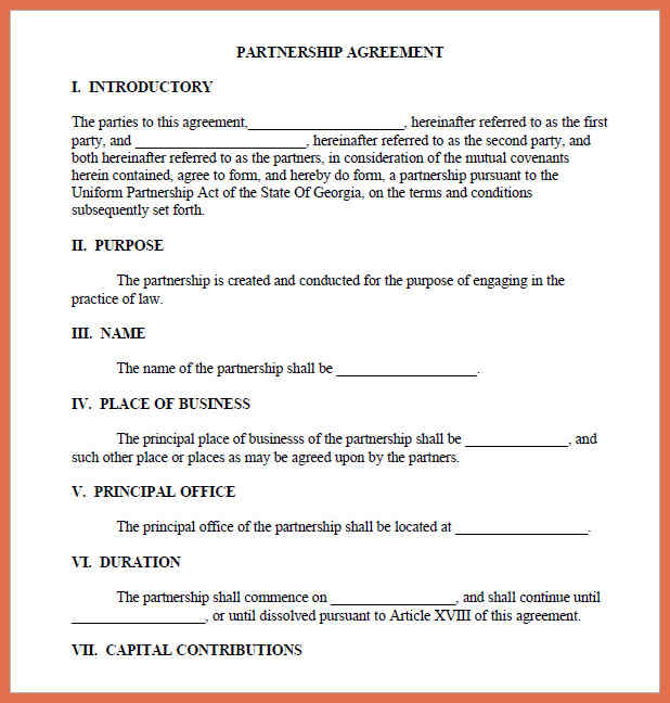Sample Partnership Agreement  Template Business