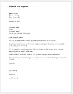 sample partnership agreement payment plan proposal letter