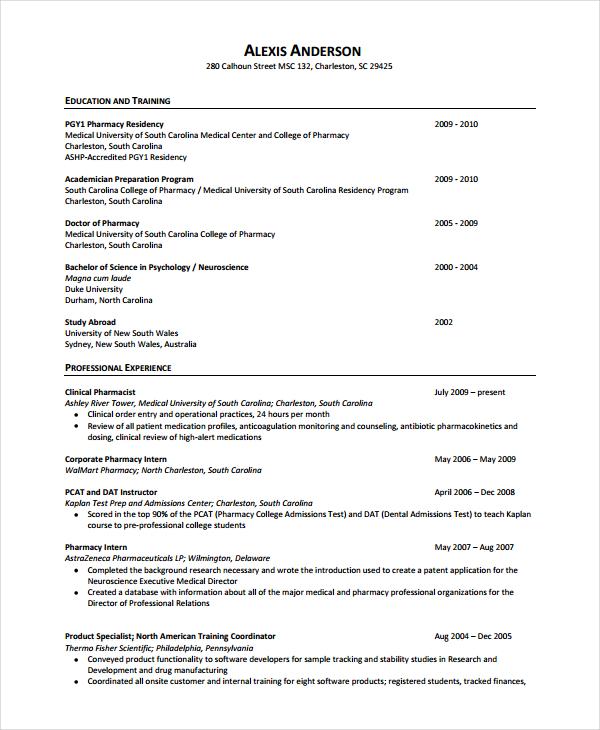 Sample Pharmacist Resume Template Business