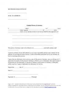 sample power of attorney form limited power of attorney sample form d
