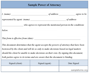 sample power of attorney form sample power of attorney form