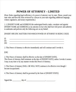 sample power of attorney microsoft power of attorney template