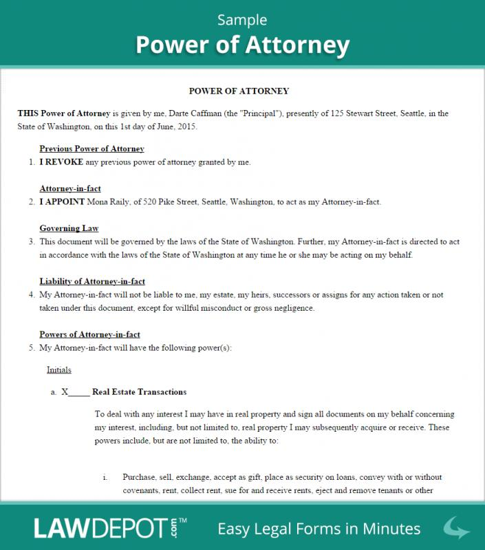 sample power of attorney