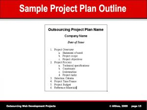 sample project plan outsourcing tutorial sample project outline