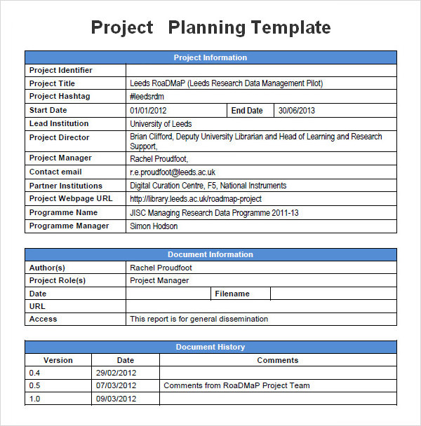 Project Plan Template. Project Plan Template Word Sample Planning ...
