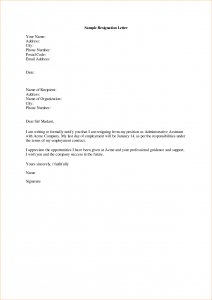 sample proposal letter a sample resignation letter