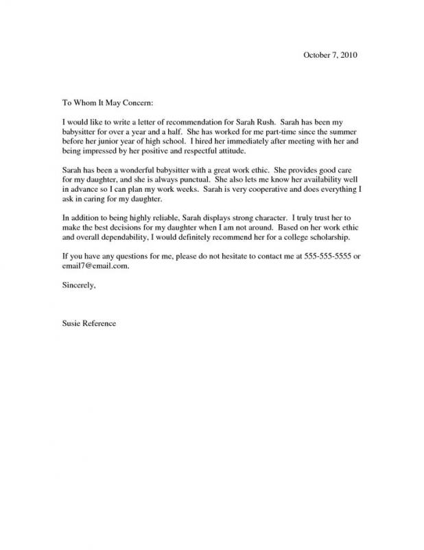 Sample Recommendation Letter  Template Business