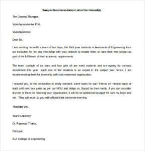 sample recommendation letters printable sample recommendation letter for internship