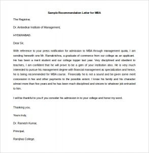 sample recommendation letters sample recommendation letter for mba free editable