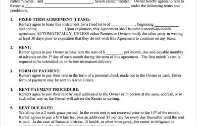 sample rental agreement free rental agreement template