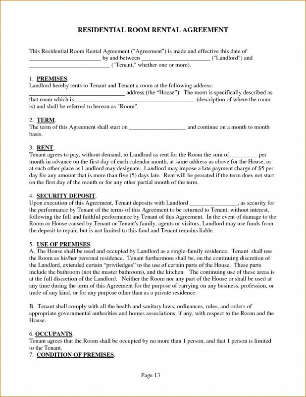Sample Rental Agreement  Template Business