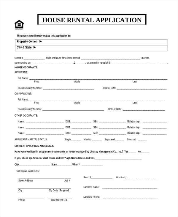 sample rental application