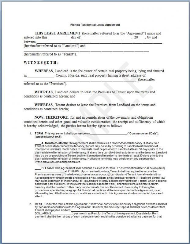 sample residential lease agreement