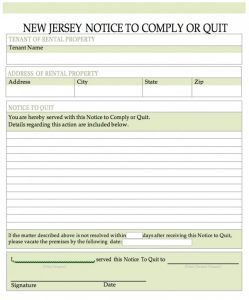 sample residential lease agreement new jersey notice to quit word x