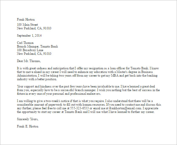 Sample Resignation Email | Template Business