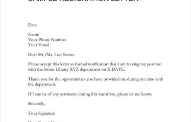 sample resignation email sample resignation letter format