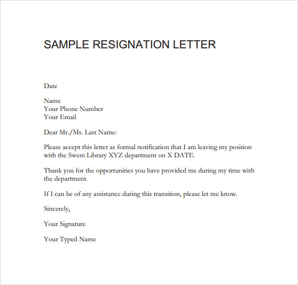 sample resignation email