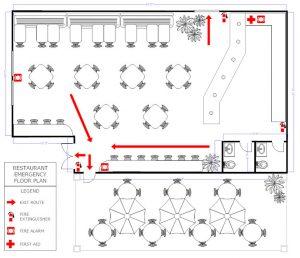 sample restaurant business plan restaurant evacuation floorplan