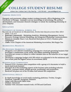 sample resume college student college student resume sample