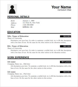 sample resume download free latex resume templates download