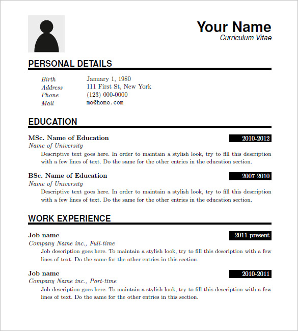 Sample Resume Download Template Business