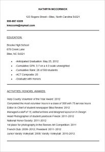 sample resume for college admission
