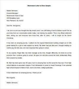 Sample retirement letter template business sample retirement letter retirement letter to boss sample word doc download spiritdancerdesigns Image collections