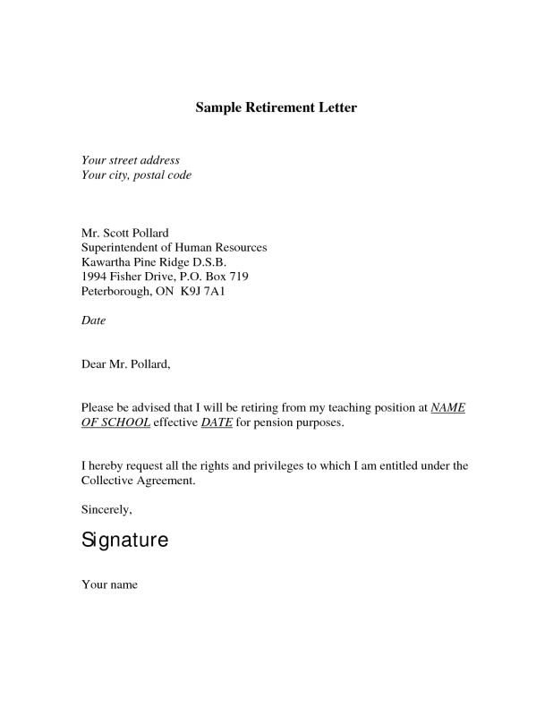 Sample retirement letter template business sample retirement letter spiritdancerdesigns Image collections