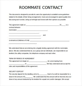 sample roommate agreement free download roommate agreement