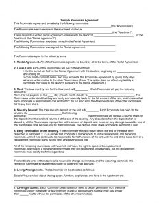 sample roommate agreement roommate agreement template