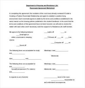 sample roommate agreement roommate agreement worksheet document