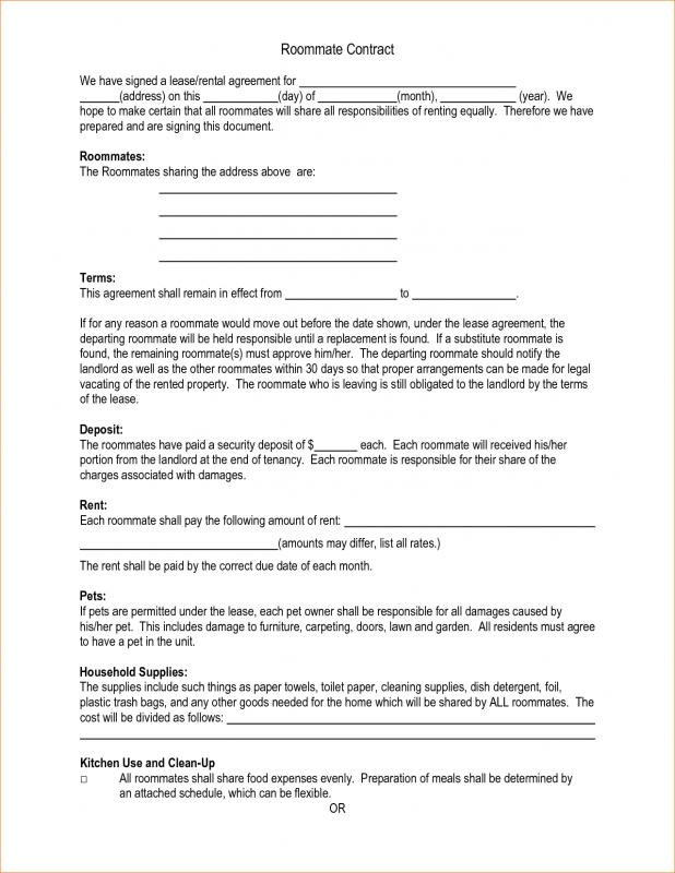 Sample Roommate Agreement Template Business