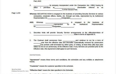 sample service agreement sample service contract agreement forms free documents in