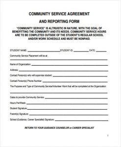 sample service contract reporting community service agreement form