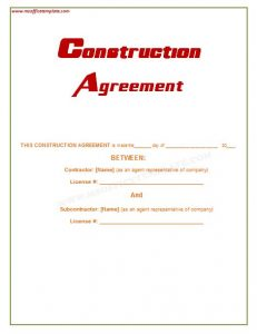 sample subcontractor agreement construction agreement