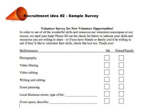 sample survey questionnaire animal shelters rescues increase volunteers nontraditional volunteering