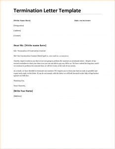 sample termination letter for cause contract termination letter template