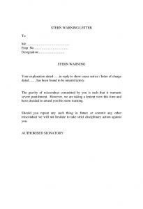 sample termination letter for cause stern warning letter
