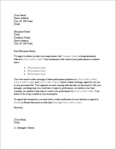 sample termination letter for poor performance trainee employee termination letter