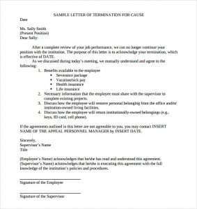 sample termination letter sample cause of job termination letter free pdf