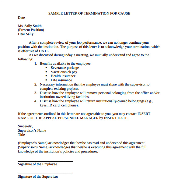 sample termination letter template business