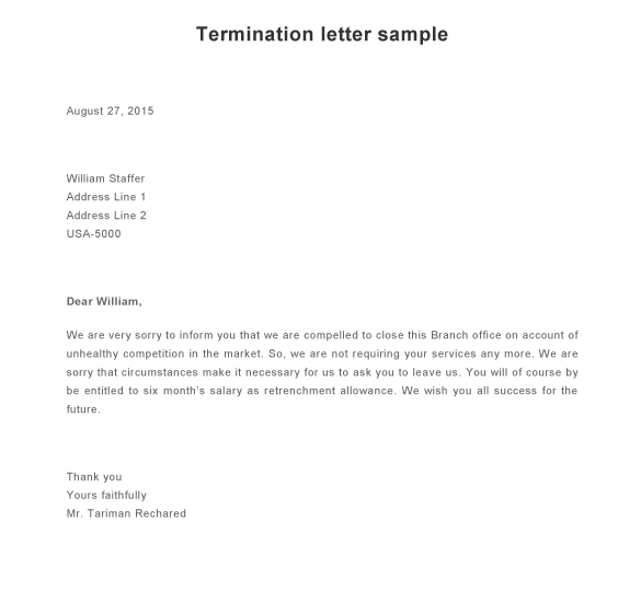 Sample Termination Letter  Format For Termination Letter