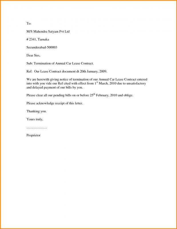 Rental Contract Termination Letter Gallery Of Sample Lease