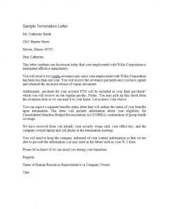 sample termination letter termination letter template