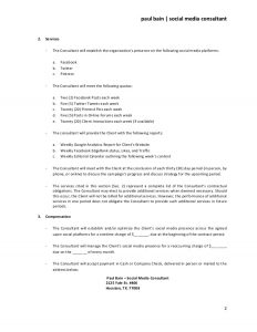 sample termination letter without cause social media consulting services contract